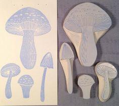 4 Piece Set Musgroom Stamp garden handmade stamp by ArtfulSunshine