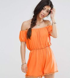 $7 ASOS Petite ASOS PETITE Jersey Off Shoulder Romper With Pom Pom Hem. Say goodbye to all your short-girl problems with our perfectly proportioned denim, day-to-night dresses and everyday basics. #ShopStyle #asos #fashion #style #summer #casualoutfit #summeroutfit #romper