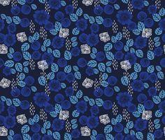 Butterfly Garden - Imperial Blue/Cerulean/Cobalt Blue/White by Andrea Lauren fabric by andrea_lauren on Spoonflower - custom fabric