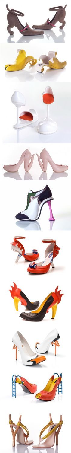 10 amazing shoes and footwear designed by Kobi Levi. The shoes are named after the themes that inspired the artist in creating them: Miao, Banana, Tulip, Blow, Chewing gum, Cheerleader red, Rooster black, Stork, Slide, Sling Shot