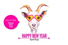 Check out Hipster Goat Happy New Year Cards by Elena Pimonova on Creative Market