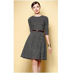 great belted dress in polka dots