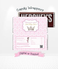 Baby Princess Baby Shower Candy Bar Wrappers by Andabloshop Baby Shower Princess, Baby Princess, Baby Shower Party Favors, Baby Shower Parties, Candy Bar Wrappers, Royal Princess, Chocolate Bars, Shower Ideas, Wallets