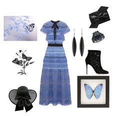 """my blue  butterfly"" by marifimarina ❤ liked on Polyvore featuring self-portrait, Victoria Beckham, Dolce&Gabbana and Lalique"
