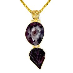Orchid Jewelry One of a Kind Gold Over Silver 32 1/2 Carat Sapphire and Tourmaline Designer Necklace