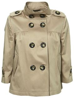 A trench inspired cropped coat like the double breasted swing jacket, about $120 USD (prices listed in British Pound) at topshop.com.
