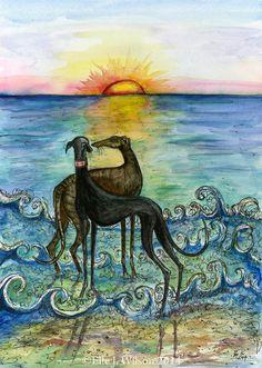 Greyhound Art Dog Print van AlmostAnAngel66 op Etsy, £15.00