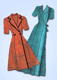1940s Vintage Mail Order Sewing Pattern 3470 Uncut Misses Housecoat Sz 14 32B…