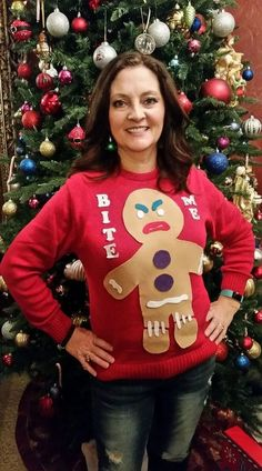 37 Ugly Christmas Sweater For Your Christmas Party 20 37 . Read more The post 37 Ugly Christmas Sweater For Your Christmas Party 20 appeared first on How To Be Trendy. Homemade Ugly Christmas Sweater, Ugly Christmas Shirts, Diy Ugly Christmas Sweater, Christmas Sweaters For Women, Xmas Sweaters, Diy Christmas, Christmas Outfits, Xmas Shirts, Ugly Sweater Party