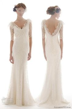 Elizabeth Fillmore French Lace Backless 3/4 Sleeve Wedding Dress
