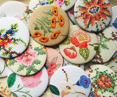 Buttons made from vintage linens. Great use for all the old stained linens that can't be saved!