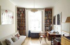 knihovna, podlaha, pracovní stůl