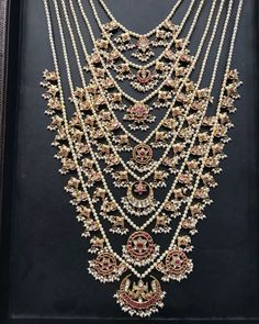 A beautifully crafted regional SATLADA strung with pearls and kundan pieces! For details please call or WhatsApp us at 919701990000 03 March 2019 Pearl Necklace Designs, Pearl Jewelry, Beaded Jewelry, Silver Jewelry, Silver Earrings, Heavy Earrings, Hand Jewelry, Dainty Jewelry, Silver Necklaces