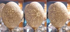 These are eggs carved to look like lace done by Tina Munford.