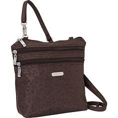 #FabricHandbags, #Handbags - baggallini Zipper Bagg Crinkle Nylon Cheetah ES - baggallini Fabric Handbags