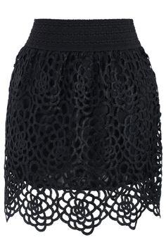 Elegance Black Crochet Bud Skirt