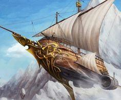 flying steampunk ship