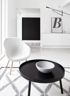 "blancuie: ""little black coffee table via musta ovi (x) "" Scandinavian Living, Scandinavian Interior, Black And White Interior, Black White, Black Coffee Tables, Beautiful Interior Design, White Rooms, Black Decor, Home And Living"