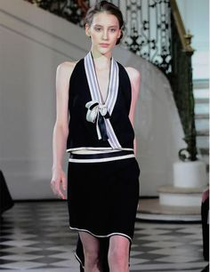BOUCHRA JARRAR $2,320 silk ribbon black wool top wrap front bow shirt 40-F/8 NEW #BouchraJarrar #Blouse #EveningOccasion