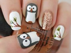 Owl Nail Tutorial, but i think it could be made to look like a penquin with snowflakes on the other  nails.