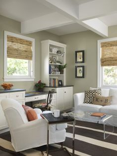 Camouflage by benjamin moore. Color inspiration for boys' room. Browns, splash of rusty orange, white, tans.