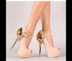 Pale pink/Gold chain peep toe stilettos