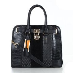 #style #handbags You Can Go Everywhere With Michael Kors Hamilton Hair Calf Embossed Medium Black Totes As It Is More Stylish,Hot And Fashionable For People!It Is Worth You To Own!