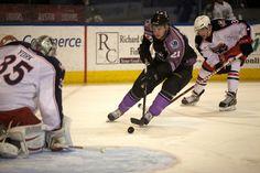 Worcester Sharks rookie forward Travis Oleksuk goes strong to the net (April 6, 2013).