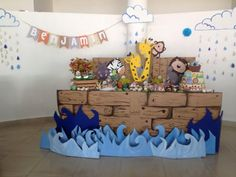 I like the name banner between the clouds Birthday Party Design, Kids Birthday Themes, Boy First Birthday, 1st Birthday Parties, Baptism Party, Boy Baptism, Baby Christening, Noahs Ark Party, Noahs Ark Theme
