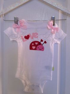 Valentine's Day Love Bug Onesie RED GLITTER by SugarandSpiceBTQ, $14.00