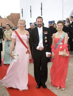 Joachim and Marie wedding 2008; Crown princess Mette-Marit and husband Crown Prince Haakon of Norway with Crown Princess Victoria of Sweden