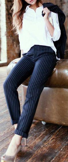 #fall #outfits White Shirt // Striped Pants // Pumps