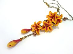 Lily necklace Yellow and Orange flower pendant by JoliefleurDeco