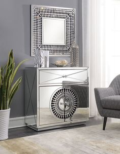 Eloy Mirrored 2 Door 1 Drawer Small Sideboard with Square Mirror - CR-CH-SM-KIT, available to buy online or at Choice Furniture Superstore UK on stockist sale price. Get volume - discount with fast and Free Delivery. Mirrored Sideboard, Small Sideboard, Modern Sideboard, Mirrored Furniture, Furniture Outlet, House Rooms, Home Interior Design, Room Kitchen, Kitchen Decor