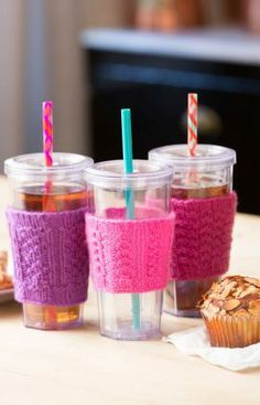 Try-a-Stitch Cup Cozies Free Knitting Pattern from Red Heart Yarns