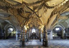 The sedlec ossuary in the Czech Republic houses the bones of 40,000 - 70,000 people.