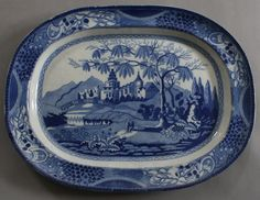 Antique Pottery Pearlware Blue Transfer Castle & Bridge Chinoiserie Platter 1815 | eBay