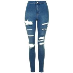 TopShop Moto Super Rip Blue Joni Jeans (1.115 ARS) ❤ liked on Polyvore featuring jeans, pants, bottoms, calças, spodnie, high waisted jeans, destroyed skinny jeans, high waisted ripped jeans, stretchy skinny jeans and skinny jeans