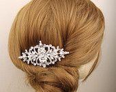 Vintage Style Wedding Bridal Hair Comb, Rhinestone Bridal Headpiece, Art Deco Style Hair Comb, Wedding Bridal Hair Accessories, BRIDGETTE. $75.00, via Etsy.