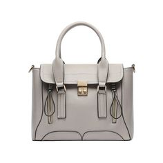 SheIn(sheinside) Gray Push Lock Zipper PU Shoulder Bag ($26) ❤ liked on Polyvore featuring bags, handbags, shoulder bags, grey, gray handbags, zipper shoulder bag, zip purse, grey shoulder bag and tassel handbag