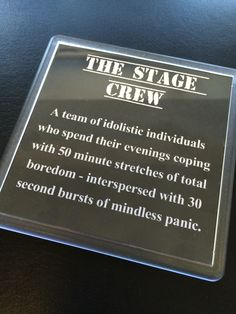 The Stage Crew description coaster - Theatre Gift from www.nvitation.co.uk