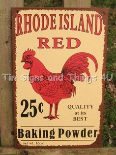 Rhode Island Red Rooster TIN SIGN vtg metal wall decor kitchen chicken ad OHW