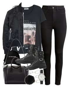 """Outfit with a bomber jacket"" by ferned on Polyvore featuring H&M, MANGO, Nicopanda, Givenchy, Forever 21, Giuseppe Zanotti, Olivia Burton and Topshop"