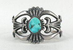 Hand made Native American Indian Jewelry; Navajo Sterling Silver sandcast bracelet