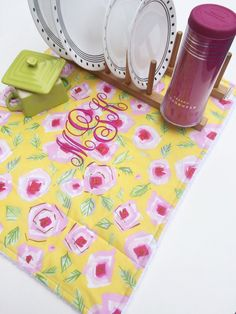 Dish Dry Towel & Monogram Dish Drainer Mat by MakingSomethingHappy Dish Drainers, Unique Gifts, Handmade Gifts, Dorm Ideas, Monogram, Dishes, Shower, Unique Jewelry
