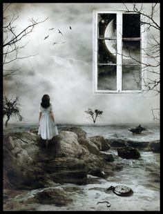 Surrealismo / Surrealism Moon, window, fantasy