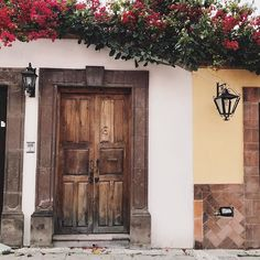 Whats behind these doors? Most likely an open air courtyard with botanicals stone arches and a home that someone has lovingly curated.  Double click if you find it thrilling to see behind closed doors.