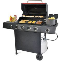 Silver NEW Backyard 4-burner BBQ Gas Grill Stainless Steel with Side Cooker #BackyardGrill