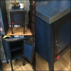 Napoleonic Blue mixed with Antibes Green Chalk Paint by Annie Sloan used for this bedside cabinet with graphite detailing.