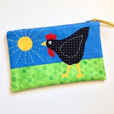 Zippered Pouch - Quilted, Pieced, Appliqued and Embroidered - one of a kind - Chicken